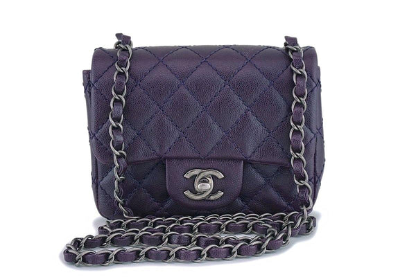 Chanel Purple Caviar Square Mini Classic Flap Bag RHW