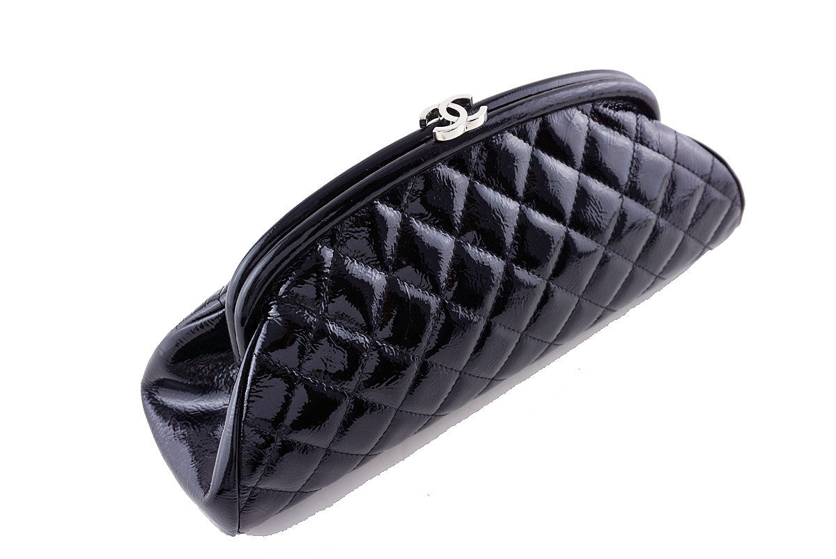 Chanel Black Timeless Quilted Kisslock Clutch Bag