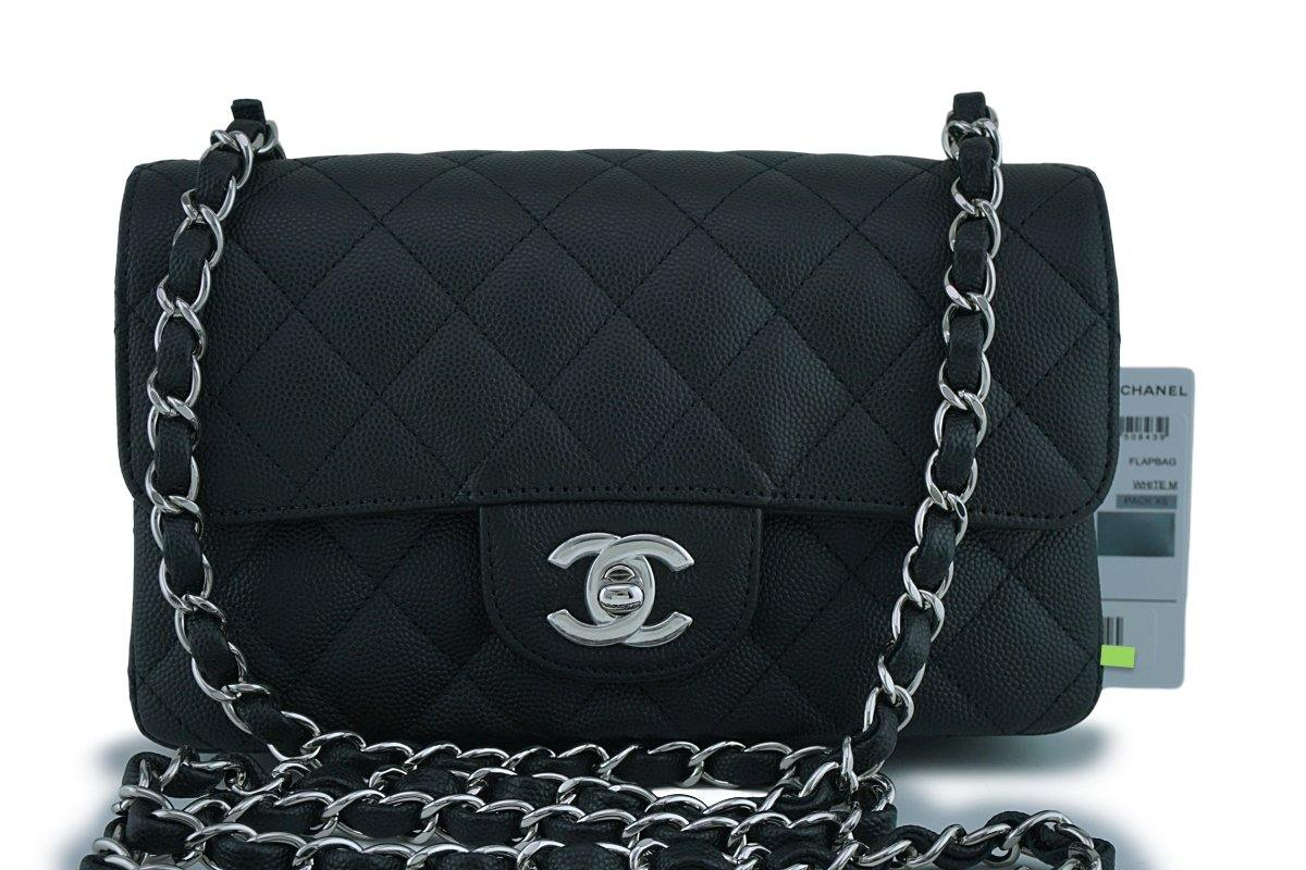 NWT 18C Chanel Black Classic Quilted Rectangular Mini Flap Bag SHW