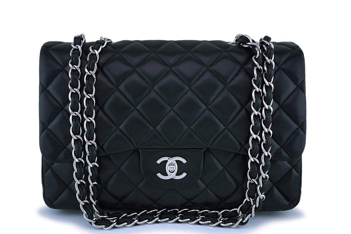 Chanel Black Lambskin Jumbo Classic Flap Bag SHW