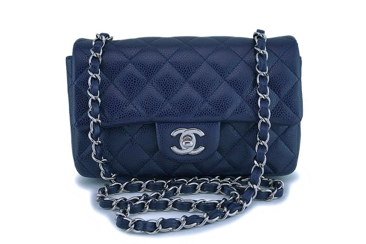 Chanel Navy Blue Caviar Rectangular Mini Classic Flap Bag SHW