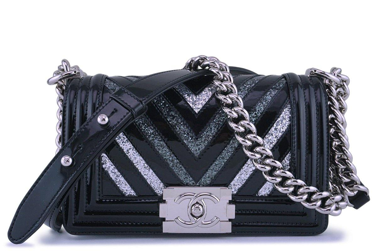 17K Chanel Black Glitter Chevron Patent Boy Flap Small Bag