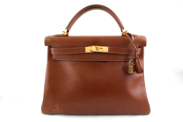 Hermes Noisette Brown 32cm Box calf Kelly Retourne Gold HW Bag