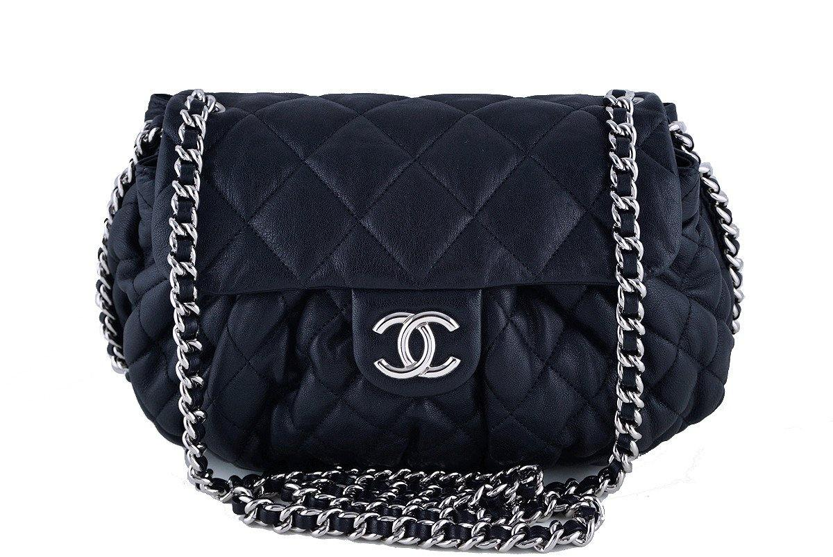 905c02ec4dbfe1 Chanel Black Large Chain Around Rounded Classic Flap Cross Body ...
