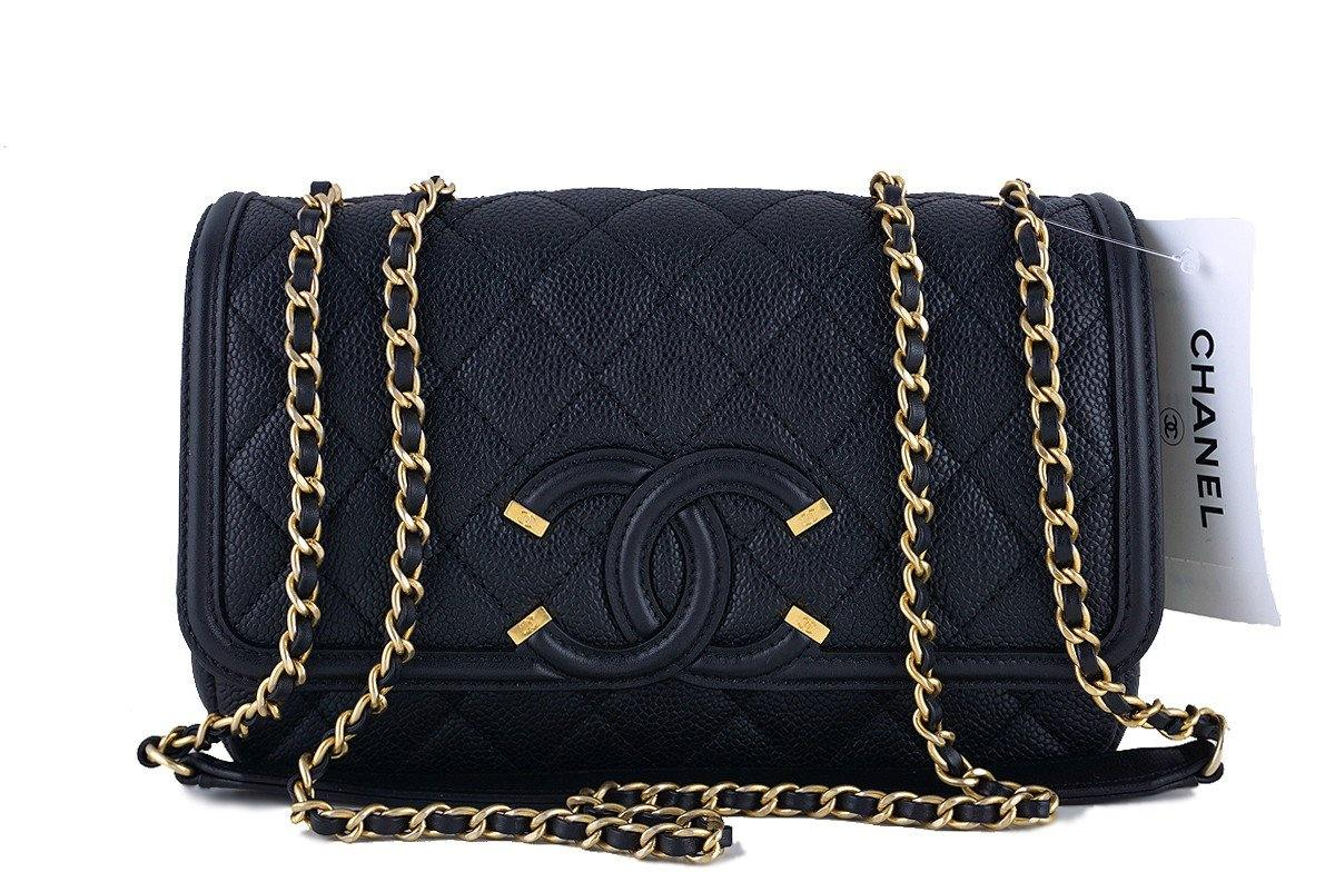 6c9f766c725b21 NWT 16S Chanel Black Limited Caviar Filigree Logo Flap Crossbody ...