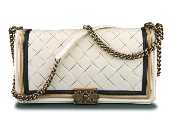 Chanel Limited Ivory Gold Baroque Framed Classic Large Boy Flap Bag