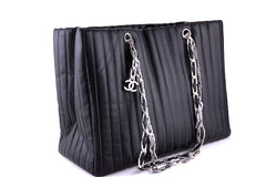 Chanel Black Lambskin Tote, Mademoiselle Vertical Stitch Shopper Bag - Boutique Patina  - 1