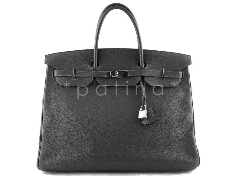 Hermes Graphite 40cm Charcoal Gray Clemence Leather Birkin Bag