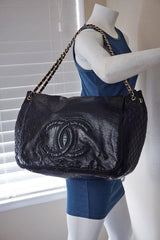 Chanel Black 18in. XXL Patent Rock & Chain Flap Bag - Boutique Patina  - 12