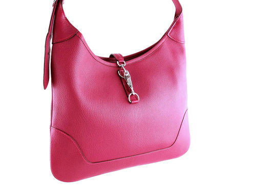 Hermes Framboise Pink Chevre Mysore 31cm Trim Hobo Bag - Boutique Patina  - 1