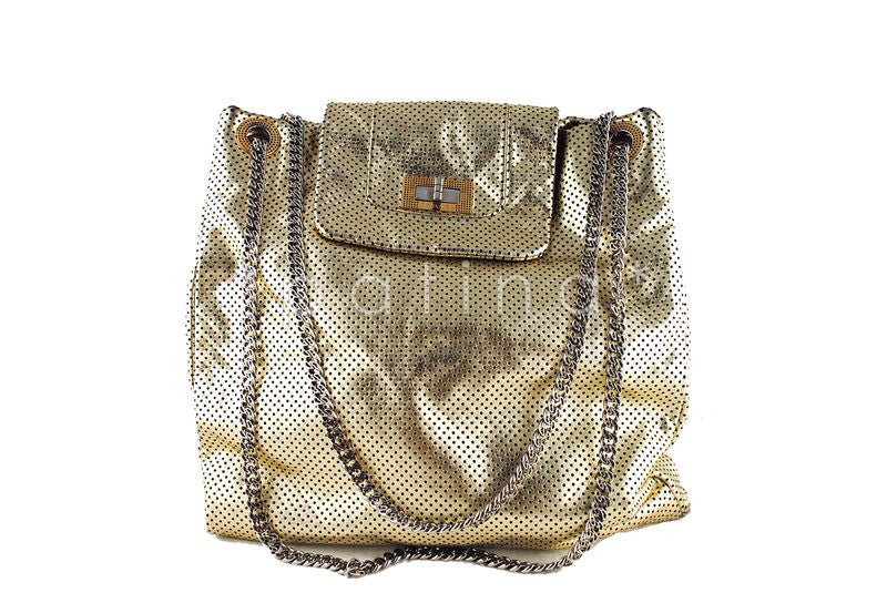 Chanel Gold Perforated Jumbo Drill Reissue Flap Tote Bag - Boutique Patina  - 1