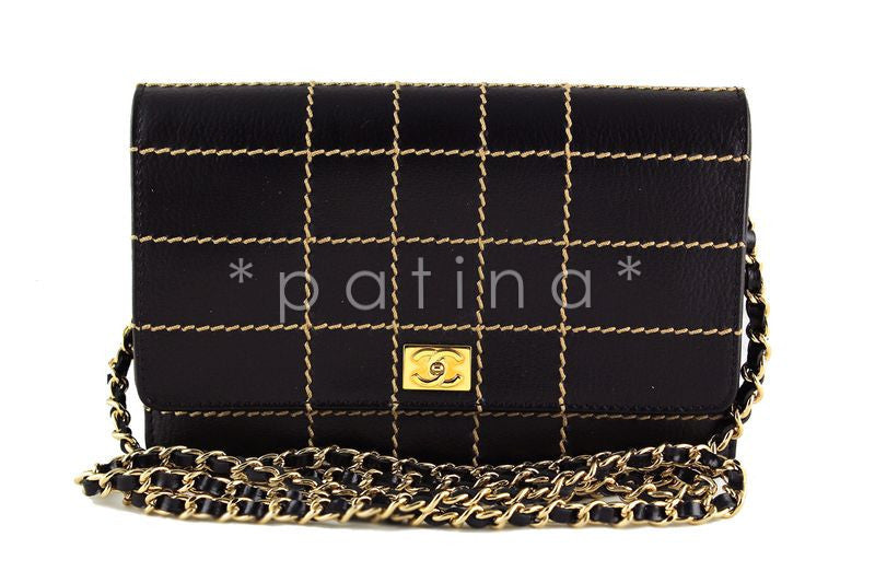 Chanel Black Contrast Stitched Wallet on Chain WOC Bag