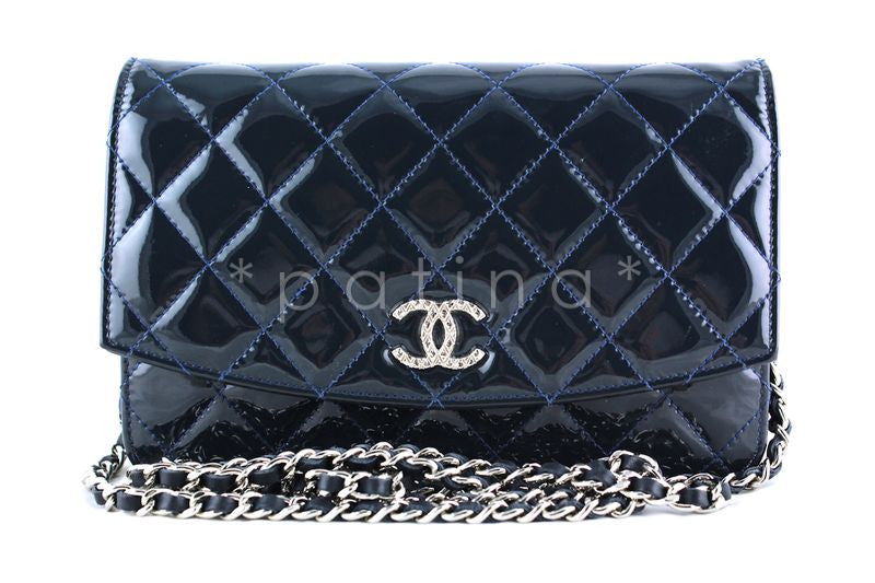 Chanel Navy Blue Patent Iridescent Wallet on Chain WOC Bag