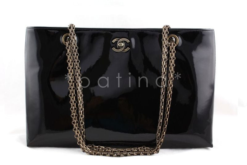 Chanel Black Patent Luxe Classic Shopper Tote with Bijoux Chain Bag