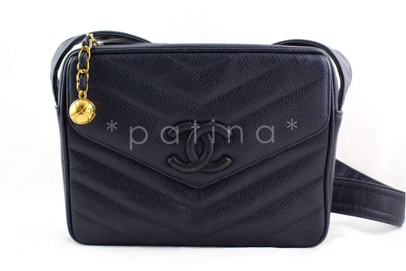 Chanel Navy Caviar Chevron Classic Quilted Flap Camera Purse Bag