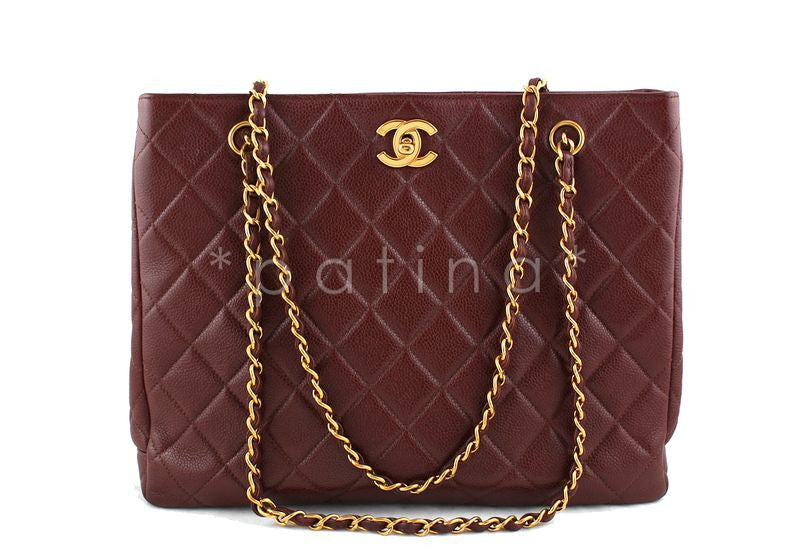 Chanel Chestnut Brown Classic Caviar Quilted Shopper Tote with CC Clasp GST Bag