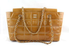 Chanel Beige Patent Chocolate Bar Quilted Camera Tote Shopper Bag - Boutique Patina  - 1