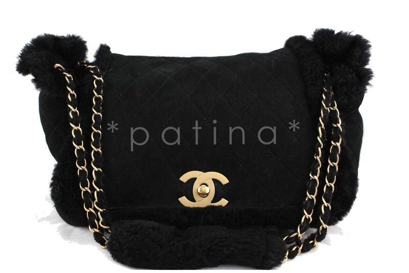 Chanel Black Quilted Suede/Shearling Jumbo Classic Flap Bag