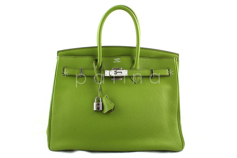 Hermes Togo Leather Vert Anis Apple Green 35cm Birkin Bag Full Set