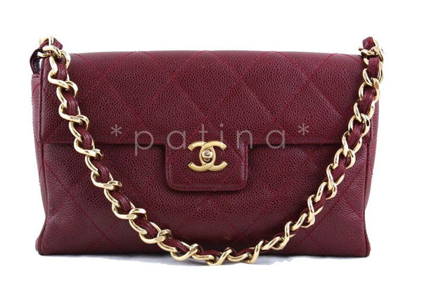 Chanel 10in. Classic Red Caviar Quilted Chunky Chain Flap Bag