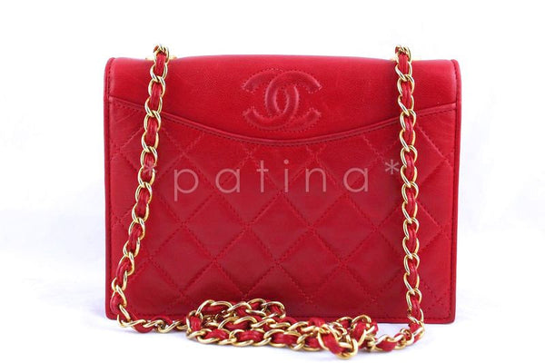 Chanel Red Quilted Vintage Timeless Classic Flap Bag