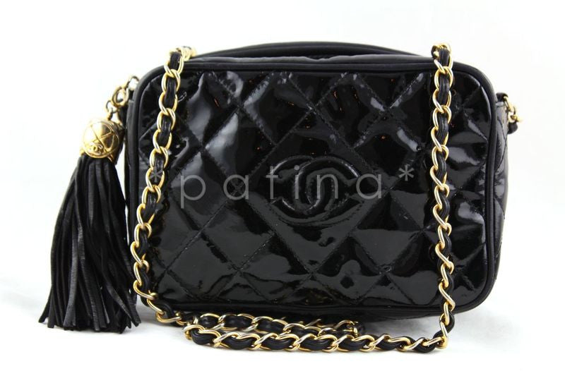Chanel Black Patent Lambskin Classic Quilted Camera Case Bag
