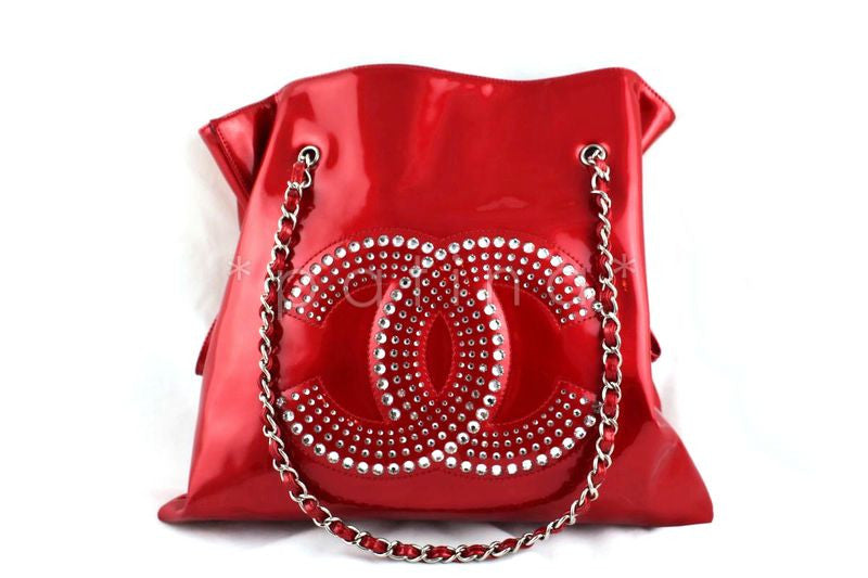 Chanel Red Patent Lambskin Strass Crystals Bon Bons Tote Bag