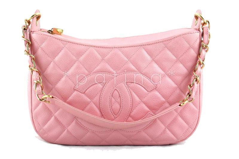 Chanel Pink Caviar Quilted Hobo Shopper Bag