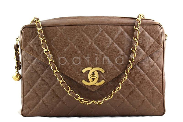 Chanel Giant Taupe Brown Caviar Jumbo Classic Camera Bag with Flap
