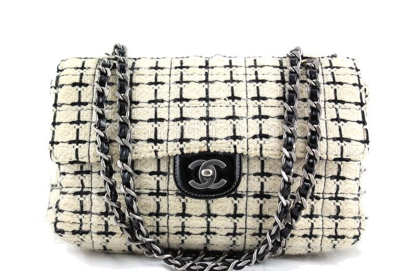 Chanel Ivory and Black Tweed Medium Classic 2.55 Flap Bag - Boutique Patina  - 1