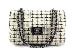 Chanel Ivory and Black Tweed Medium Classic 2.55 Flap Bag
