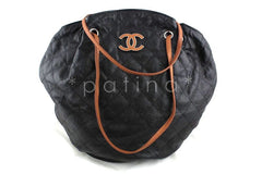 Chanel Gray-Black Giant Quilted Caviar Drawstring Hobo Tote Bag