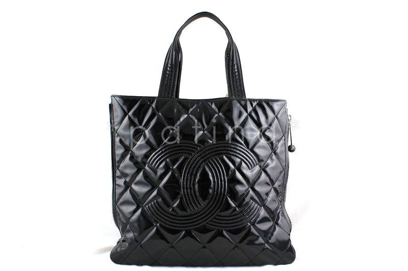 Chanel Black Large Patent Moscow Shopper Tote Bag