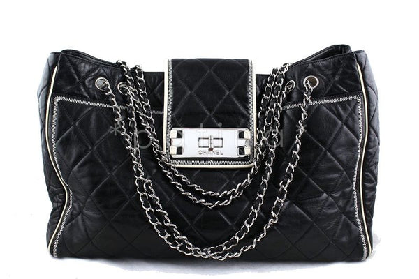 Chanel Black East West Quilted Giant Reissue Lock XL Tote Bag
