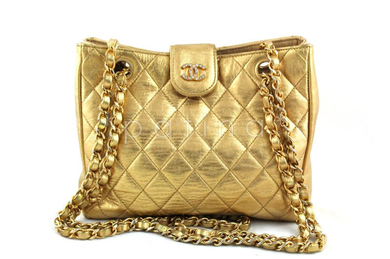 Chanel Gold Lambskin Quilted Mini Shoulder Tote with Crystal CCs  Bag