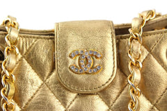 Chanel Gold Lambskin Quilted Mini Shoulder Tote with Crystal CCs  Bag - Boutique Patina  - 2