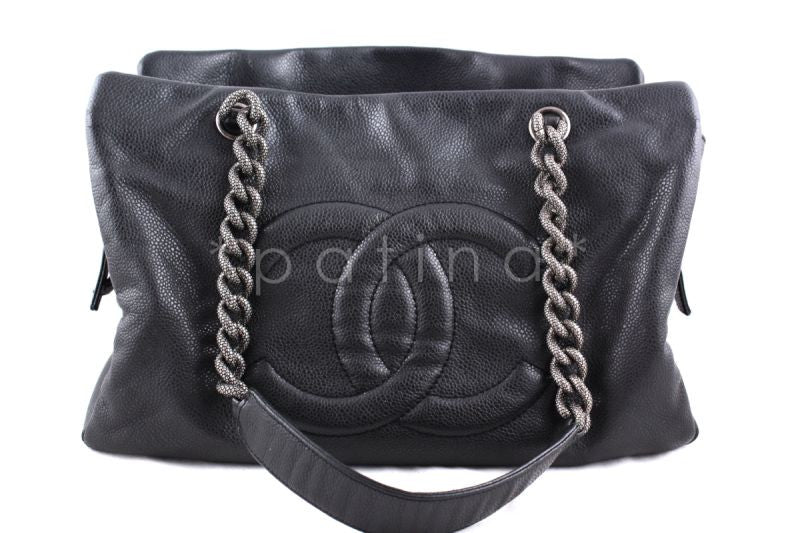 Chanel Charcoal Gray Soft Caviar Timeless Grand Shopping Tote GST Bag