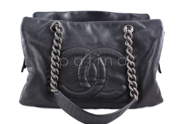 ab83b8c36a7a Chanel Charcoal Gray Soft Caviar Timeless Grand Shopping Tote GST Bag