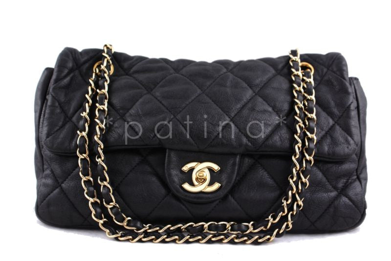 Chanel Black Lambskin Limited Classic Jumbo Soft Flap Bag