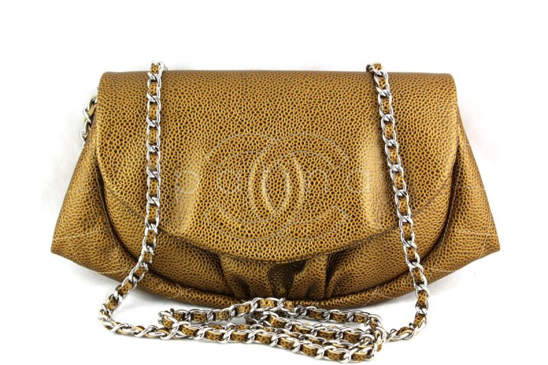 NWT 14C Chanel Gold Caviar Half Moon WOC Wallet on Chain Bag