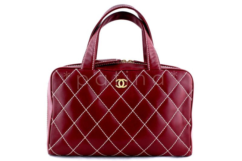 Chanel Red Contrast Stitch Surpique Classic Large Bowler Bag