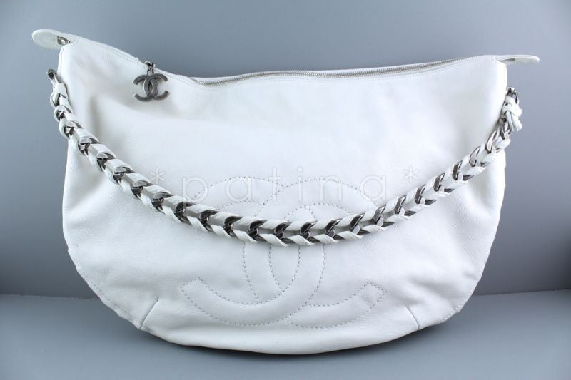 Chanel White Luxury Distressed Calf Modern Chain Large Hobo Bag