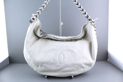 Chanel White Luxury Distressed Calf Modern Chain Large Hobo Bag - Boutique Patina  - 2