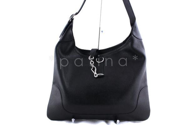 Hermes Black 35cm Evergrain Trim I Hobo Bag Palladium