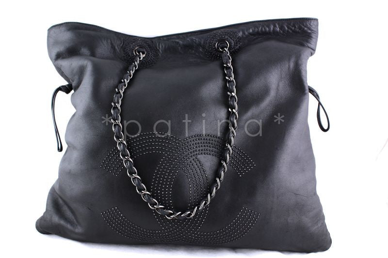 Chanel Charcoal Gray XL Soft Lambskin Studded Hobo Shopper Tote Bag