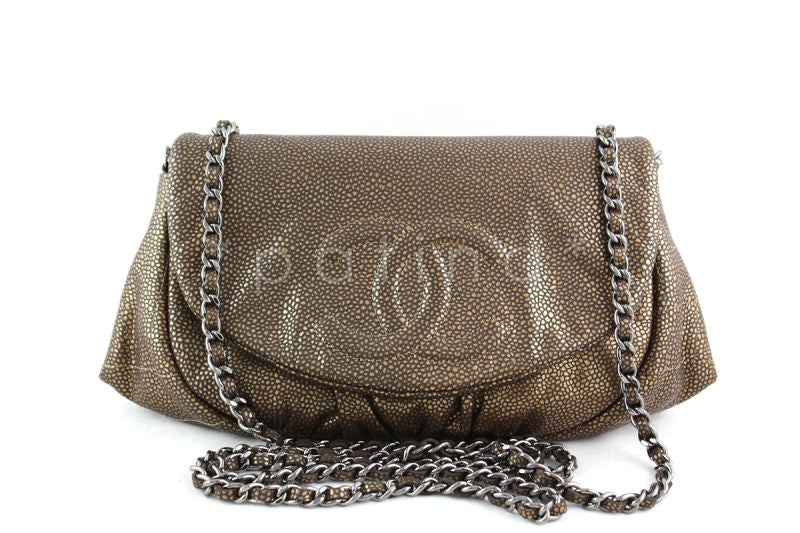 Chanel Bronze Caviar Half Moon WOC Wallet on Chain Flap Bag