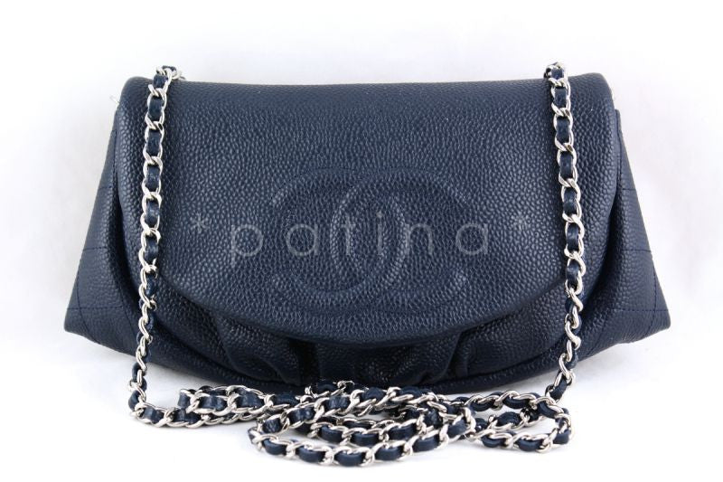 Chanel Navy Caviar Half Moon WOC Wallet on Chain Purse Bag