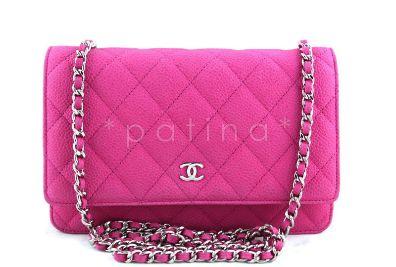 Chanel Fuschia Pink Caviar Classic Wallet on Chain WOC Flap Bag - Boutique Patina  - 1