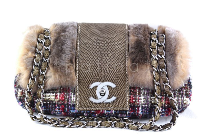 Chanel 10in. Lizard Chain Tweed Fur Vested Classic Flap Bag