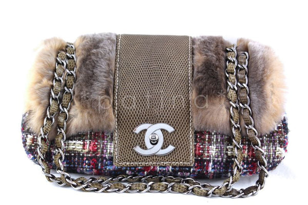 6a3aa98e7946 Chanel 10in. Lizard Chain Tweed Fur Vested Classic Flap Bag